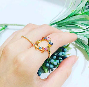 Multicolor Baguette Round Ring