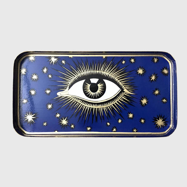 Handpainted Eye Iron tray Blue