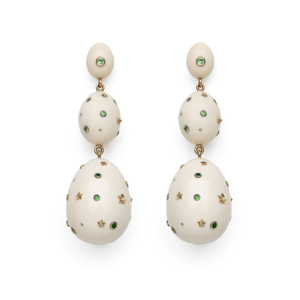 Mammoth Egg Green Earrings