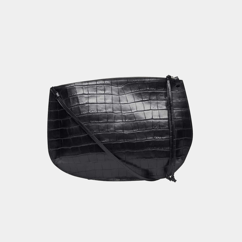 Pebble Pouch Large Black Croc