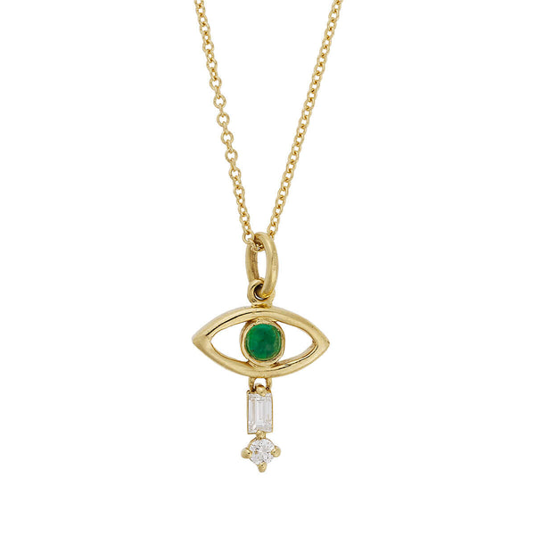Tiny Baguette Eye Pendant Y-D-Emerald