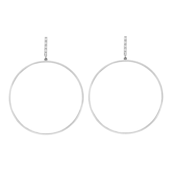 XL Baguette Bar Hoops W-D