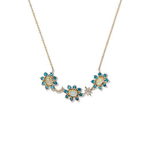 Night Flower Necklace Y-Apatite-Opal-D