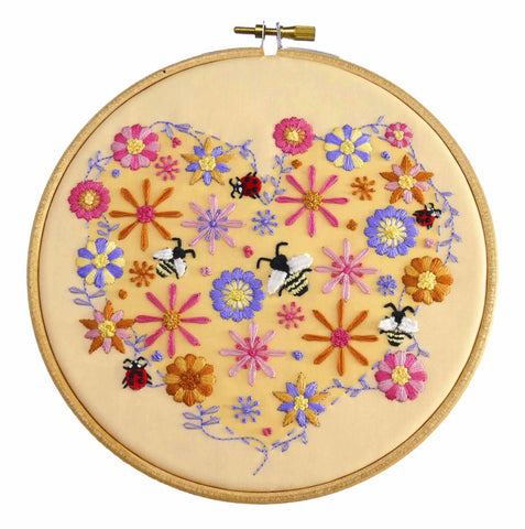 Bees, Ladybird and Flowers Hand Embroidery Kit