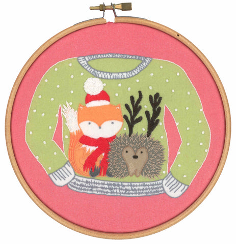 Christmas Jumper Fox and Hedgehog Beginner Embroidery Kit