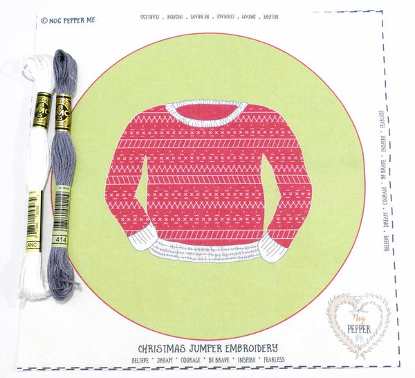 Christmas Jumper Scandinavian Beginner Embroidery Kit Threads and Panel
