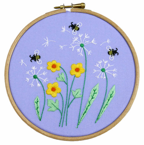 Dandelion and Bees Embroidery Kit Beginner