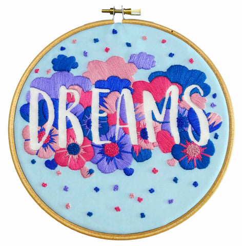 Dreams Feminist Hand Embroidery Kit for Beginners