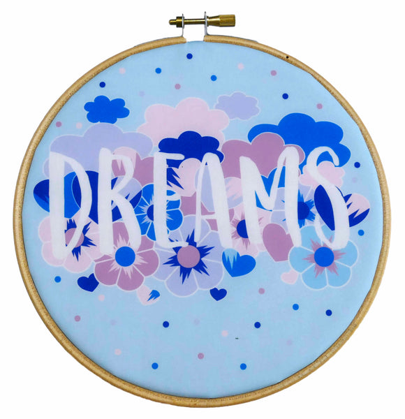 Dreams Hand Embroidery Kit Printed Fabric