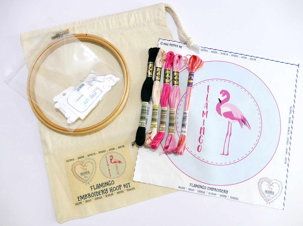 Flamingo Hand Embroidery Kit For Beginners Gifts For Flamingo