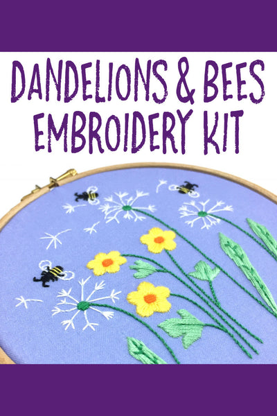 Nog Pepper Me Dandelion and Bees Embroidery Kit Beginner