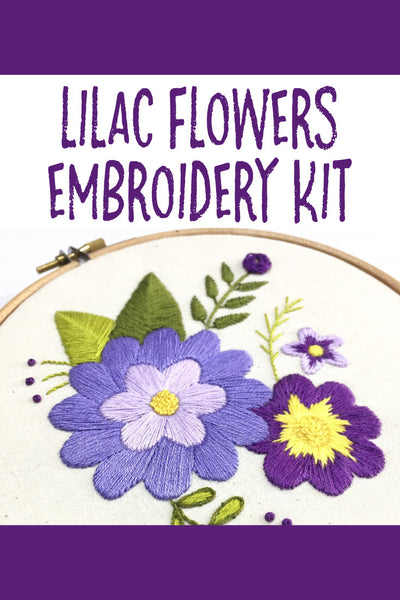 Nog Pepper Me Lilac Flowers Embroidery Kit