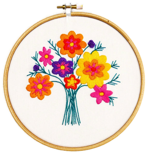 Summer Flowers Bouquet Embroidery Kit