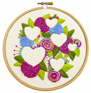 Hearts and Flowers Embroidery Kit