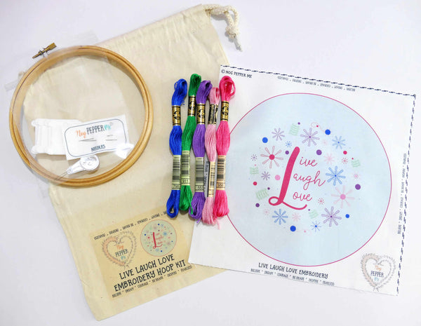 Live Laugh Love Hand Embroidery Kit Hoop Art