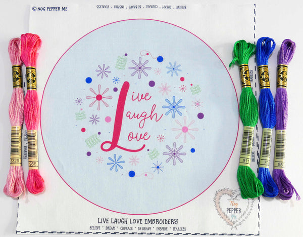 Live Laugh Love Hand Embroidery Kit Hoop Art Threads