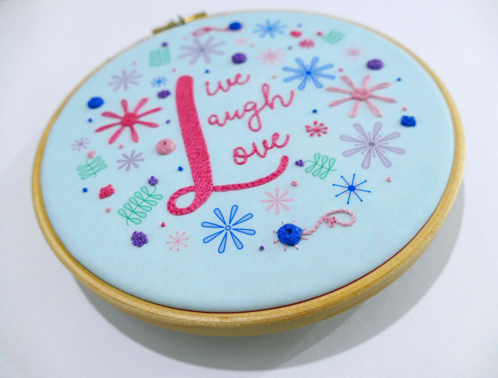 Live Laugh Love Tunnel of Skulls Embroidery