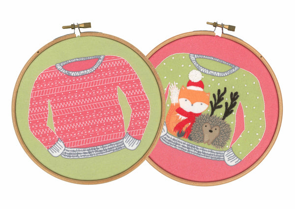 Christmas Jumper Scandinavian Beginner Embroidery Kit Hoop Art