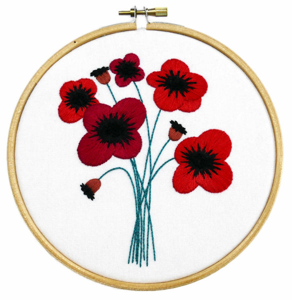 Poppies Bouquet Flower Embroidery Kit