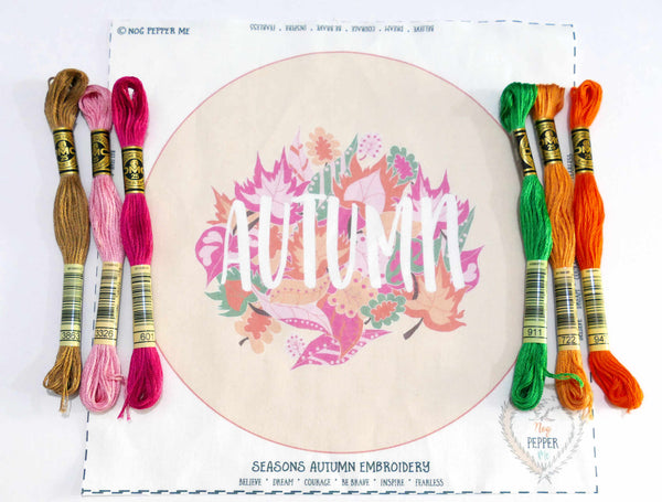 Seasons Autumn Embroidery Kit Panel and Threads