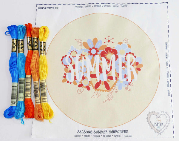 Summer Modern Embroidery Kit Four Seasons Fabric Panel and Embroidery Threads