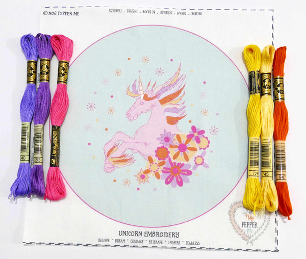 Unicorn Hand Embroidery Kit Threads