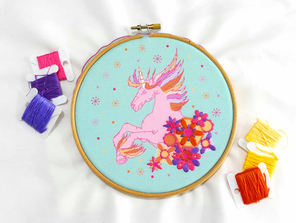 Unicorn Embroidery Kit Threads