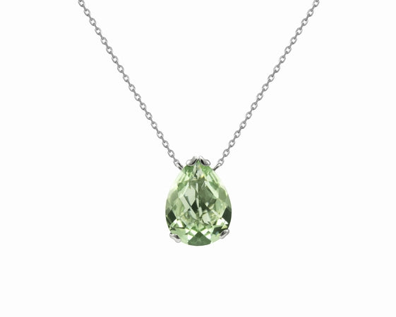 Fei Liu Whispering 18ct White Gold Green Amethyst Small Tear Stone Pendant