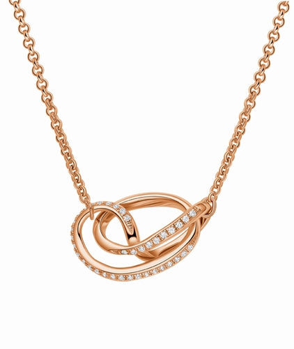 Fei Liu Serenity Pendant in Rose Gold with Stones
