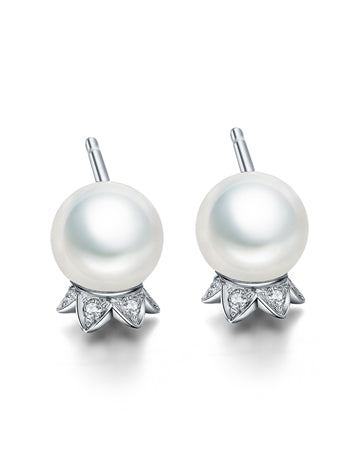 Fei Liu Lily of the Valley 9ct White Gold Diamond Stud Earrings