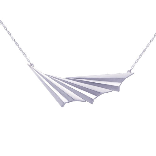 Alice Barnes pleated silver wave necklace