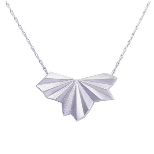 Alice Barnes pleated silver fan necklace