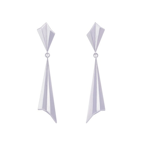 Alice Barnes pleated silver drop earrings