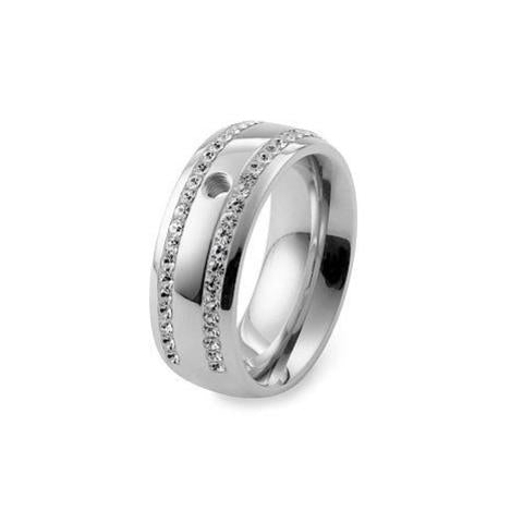 Qudo 'Lecce' Broad Stainless Steel Ring with Swarovski Crystals