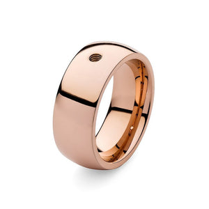Qudo 'Broad' Rose Gold Plated Stainless Steel Ring