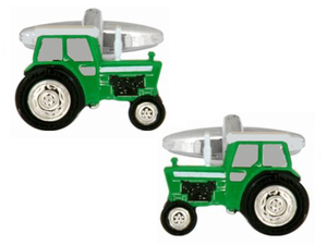 Dalaco green tractor rhodium plated cufflinks