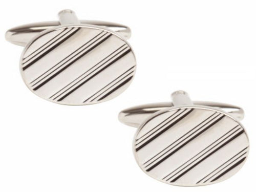 Dalco oval with full diagonal lines rhodium plated cufflinks