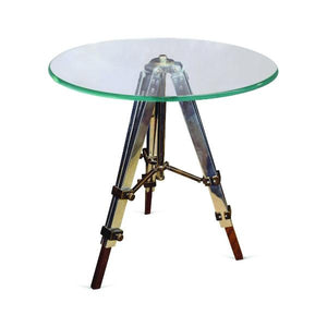 Culinary Concepts Radius Glass Side Table with Tripod Legs