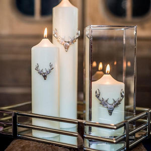 Culinary Concepts Set of Three Large Stag Antler Candle Pins - Silver Finish