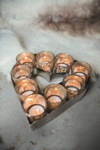Culinary Concept Small Heart Votive Tray with Glass Holders
