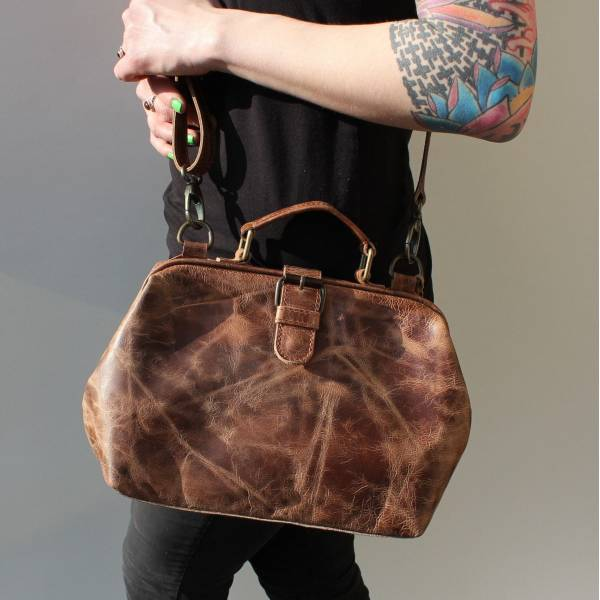 Doctor Dark Tan Distressed Leather Bag
