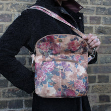 Medium Flapover Leather Zip Bag - Floral