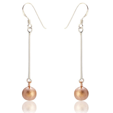 Trinny Drop Earrings - Rose Gold (Sand Polish)