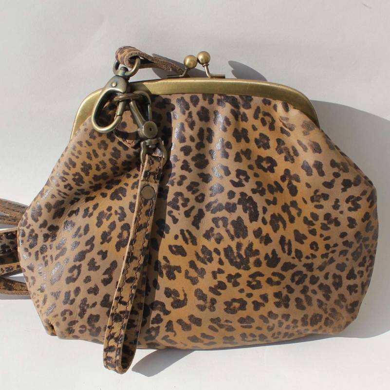 Clip And Clutch Bag Leopard Leather Large