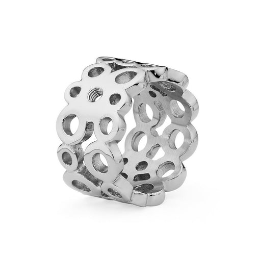 Qudo 'Ancona' Silver Plated Stainless Steel Ring