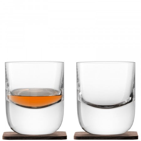 LSA Renfrew Tumbler & Walnut Coaster x 2