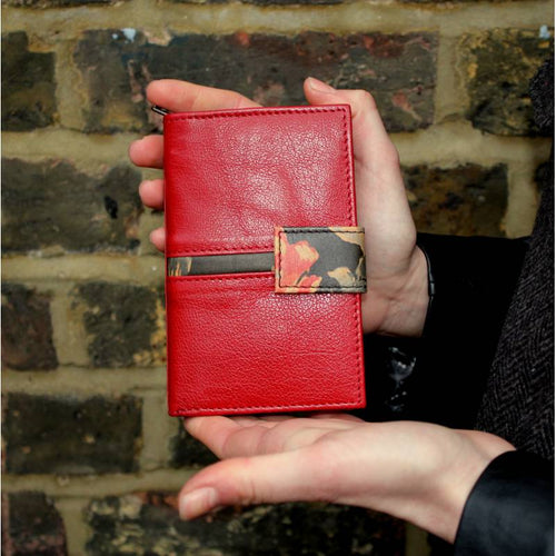Fifi Red and Spanish Floral Leather Wallet
