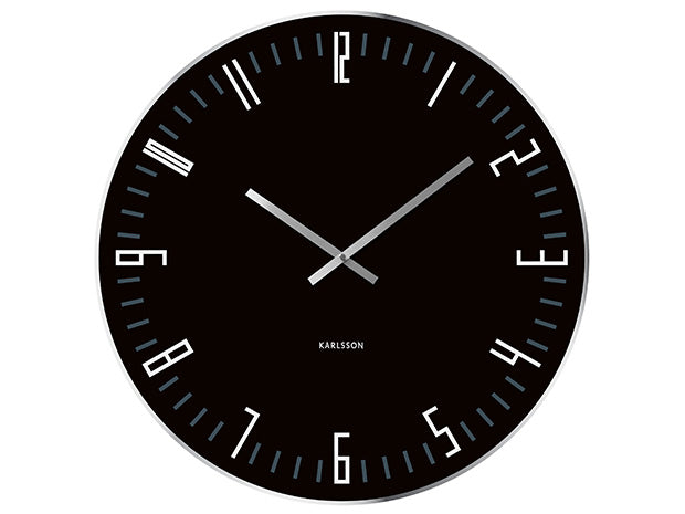 Karlsson Wall Clock XL Slim Index Black Glass Mirror Edge