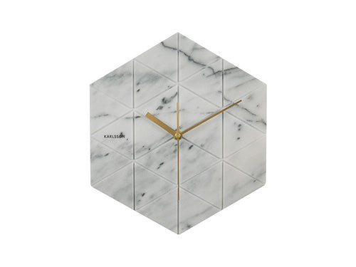 Karlsson Marble Hexagon Wall Clock White