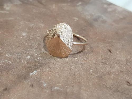 Agapi Smpokou Seastories - rock limpet ring rose gold plate, size `N`